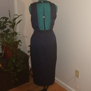 NWT navy backless cowl neck dress